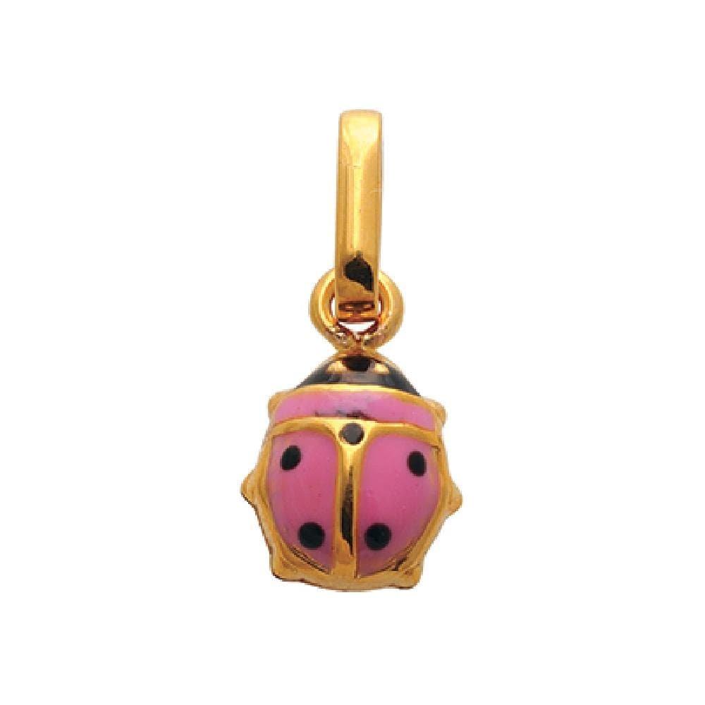 9k Yellow Gold Black /& Pink Enamel Ladybug Pendant So Chic Jewels Children