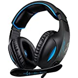 Gaming Headset, SADES SA816 Stereo Gaming Headset for PC, Xbox one, PS4 Controller, Noise Cancelling Over Ear Headphones with Mic, Bass Surround, Headphones for Laptop Computer
