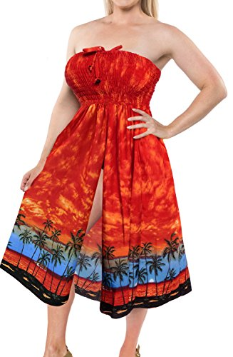 La Leela Likre Printed swimwear aloha hawaiian bride cruise resort lounge vacation party work Sundress Orange