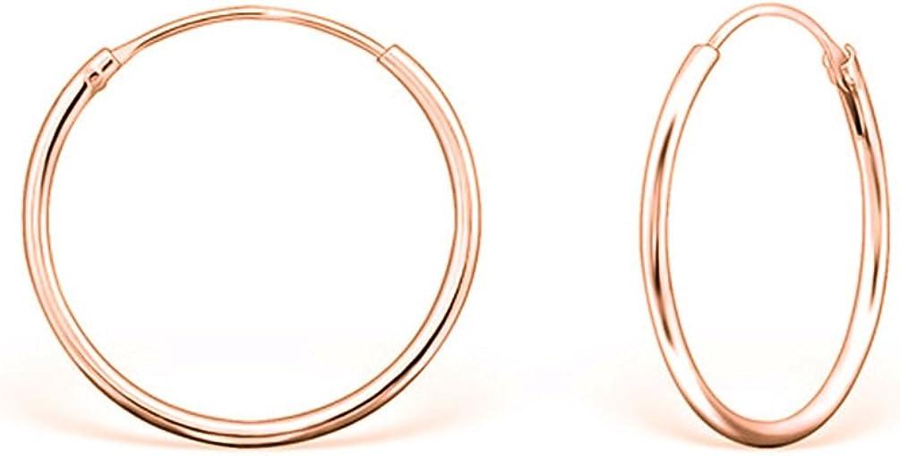 Plaqu/é Or Jaune ou Or Rose Diam/ètre 30 mm /Épaisseur 1.2 mm Boucles doreilles Femme Cr/éoles en Argent Fin 925 DTPsilver