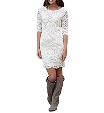 Fishlove Womens Vestido De novia Short Backless Rustic Lace Bridal Gowns Country Style Half Sleeve