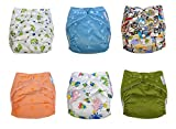BABICIOUS Washable and Adjustable Cloth Diapers | Unisex 6 Pack (6 pcs + 6 Bamboo Inserts + 1 Wet Bag) with Gift Bag