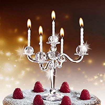 Groovy Hoobbe Bling Candle Holder For Cake With Candles Amazon Co Uk Personalised Birthday Cards Arneslily Jamesorg