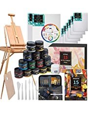 MEEDEN 76 Pcs Deluxe Art Painting Kit with French Style Easel, 48-Color Acrylic Paint Set, 10-Pcs Paintbrushes, 6-Pcs Canvas Panel, 2-Pcs Stretched Canvas, 1-Pcs Wood Palette, 1-Pcs Acrylic Painting Pad, 6-Pcs Palette Knife Set, 1-Pcs Color Mixing wheel, Nice Gift for Artists, Beginner & Adults