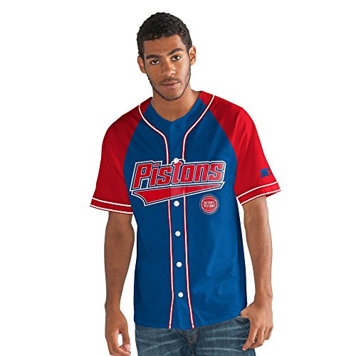 - STARTER NBA Detroit Pistons Men's The Player Baseball Jersey, X-Large, Royal