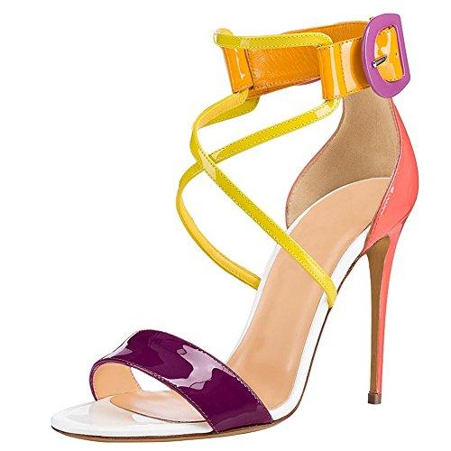 des Courroie 1 Talon PU Robe Couleurs Bout de transversale SQY bonbons Femmes haut sandales ouvert Pompe vxAqWEZ