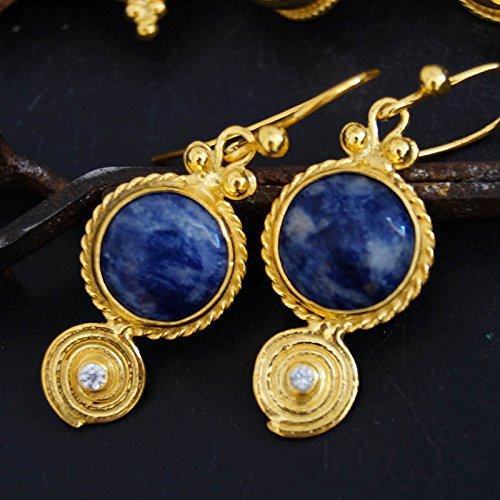 925k Silver Handmade Sodalite & White Topaz Earrings 24k Gold Vermeil Handcrafted Turkihsh Designer Jewelry Women Earrings Ancien Roman Art