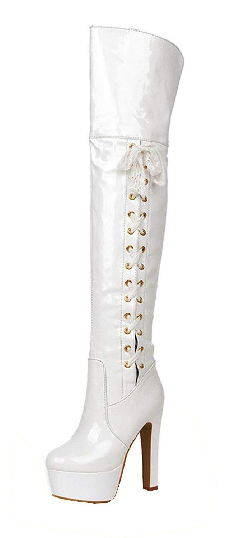 YE Longue Botte Talon Cuissarde Femme Vernis Femme Haut Talon Haut Aiguille Lacet Plateforme Noeud Papillon Blanc 2622117 - shopssong.space