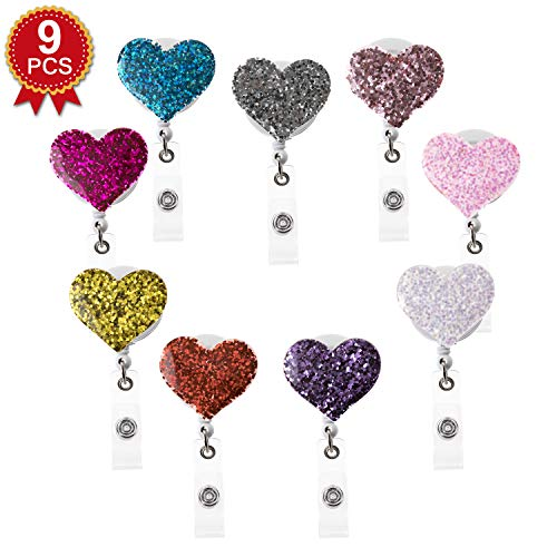(9PCS Pack) 9 Colors Mix Lovely Heart Design Sparkle Bling Crystal Badge Reel Clip Cute Retractable Rhinestone ID/Name Badge Holder for Gifts,Souvenir,Giveaway