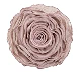 Fennco Styles Beautiful Handmade 3D Rose with Custom Made Fabric Decorative Throw Pillow 16'' Round (Mauve, Case Only)