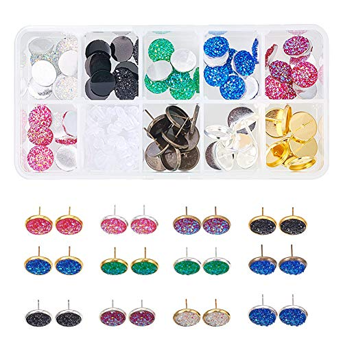 SUNNYCLUE 1 Box DIY 15 Pairs Druzy Stud Earrings Making Starter Kit Include 6 Color 36pcs Round Druzy Agate Resin Cabochons 12mm 3 Color 30pcs Blank Stud Bezel Earrings Settings amp 5g Earnuts