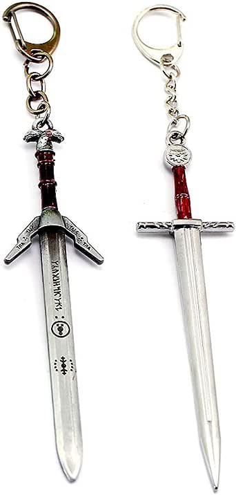 2pcs/lot Wild Hunt Geralt of Rivia Hunting Magic Swords Keychain Key Ring Pendant
