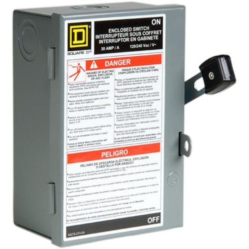 Square D by Schneider Electric L211N 30 Amp 120/240-Volt Two-Pole Indoor Light Duty Fusible Safety Switch with Neutral by Square D by Schneider Electric [並行輸入品] B01N55FFPW