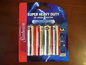 Amazon.com: Sunbeam Super Heavy Duty Batteries, AA, 8 pack