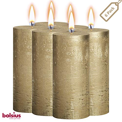 Gold Pillar - BOLSIUS Rustic Full Metallic Gold Candles - Set of 6 Unscented Pillar Candles - Gold Candles with a Full Metallic Coat - Slow Burning - Perfect Décor Candle - 190/68m 7.5X 2.75 Inches