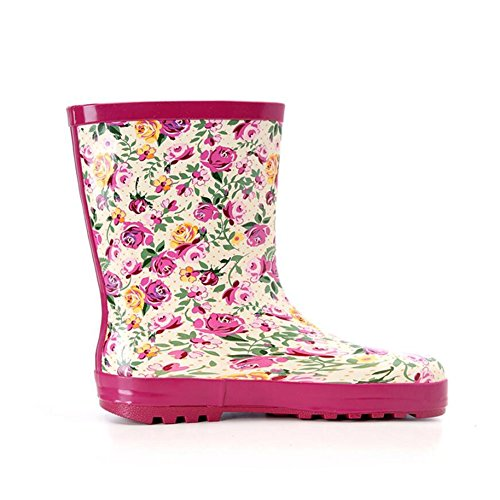 On Low Women's Shoes Color 39 Boots Boots A Flower Ladies Water Ladies Size Calf Rain Boots Rubber Pattern Slip Mid HUAN wx0Svqq