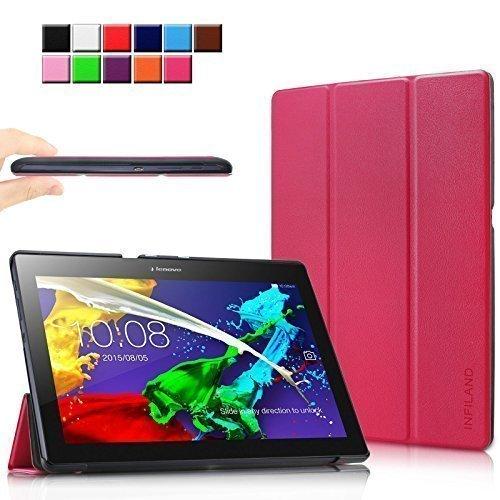 Infiland Lenovo Tab 2 A10-70 / Tab 2 A10-30 / Tab 3 10 Business Hülle Case, Ultra Dünn Tri-Fold Smart-Muschel PU Leder Schutzhülle für Lenovo Tab 2 A10-70 / Tab 2 A10-30 / Tab 3 10 Business 10,1 Zoll Tablet (mit Auto Schlaf / Wach Funktion)(Magenta)