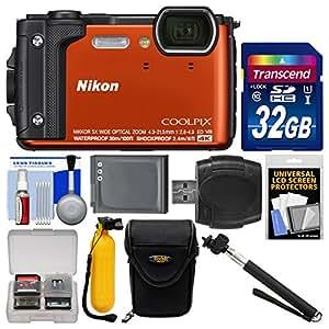 Nikon Coolpix W300 4K Wi-Fi Shock & Waterproof Digital Camera (Orange) with 32GB Card + Case + Battery + Monopod + Floating Handle + Kit