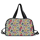 Travel handbag,Cartoon Animal,Grunge Retro Africa Wildlife Characters Colorful Silhouettes Savannah Fauna Decorative,Multicolor ,Personalized