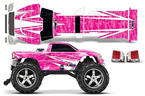 (Designer Decal for Traxxas T-Maxx 3.3 1/10 (#4907) AMRRACING RC Kit - Contender - White/Pink)