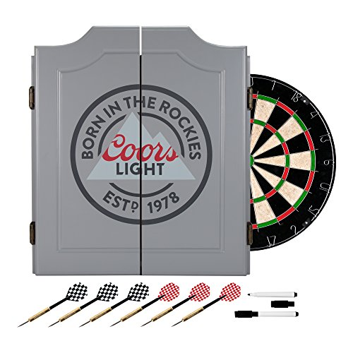 TRADEMARK GAMES Coors Light Dartboard Set (Custom Cabinets Dartboard)