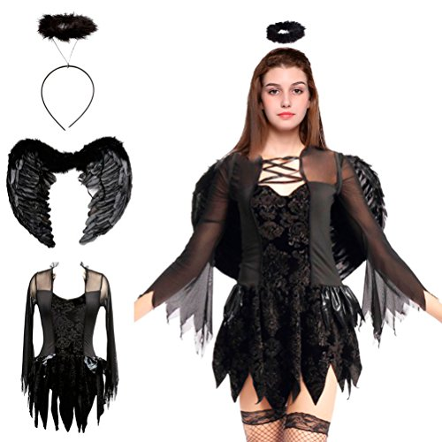 Halloween Fallen Angel Costumes Feather Wings Cosplay Halo Fancy Dress for Children Girls