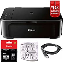 Canon Pixma MG3620 Wireless Inkjet All-In-One Multifunction Printer (0515C002) with Canon Genuine Black Ink Cartridge, 6-Outlet Surge Adapter, 1 Year Extended Warranty & 6-foot USB Printer Cable