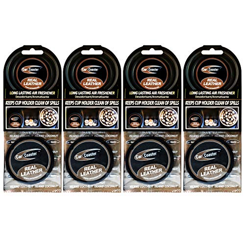 Aroma Chips Real Leather Scent (4 Pack) The Original Car Coaster Air Freshener Long Lasting Fragrance, Odor Removing ...