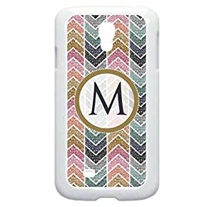 M-Glitter-Look Monogram-Hard WHITE Plastic Snap - On Case -GALAXY S4 i9500 Great Quality!