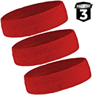 Sweat Headbands Set - Sweatbands for Working Out, Sports, Tennis - Athletic Terry Cloth Head Bands for Men &am