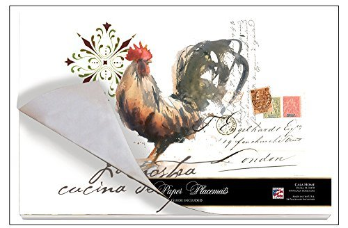 Cala Home 24-Pack Disposable Paper Placemats, Watercolor Rooster