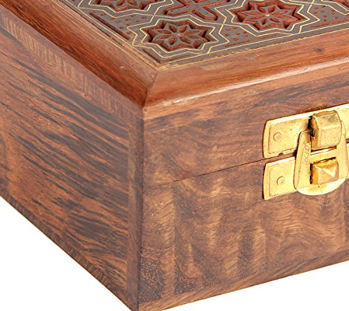 Indian Jewelry Holder - 4 x 4 x 2.25 Inch Small Wood Box - Jewelry Boxes for Bracelet - Present for Her by ShalinIndia (Image #1)
