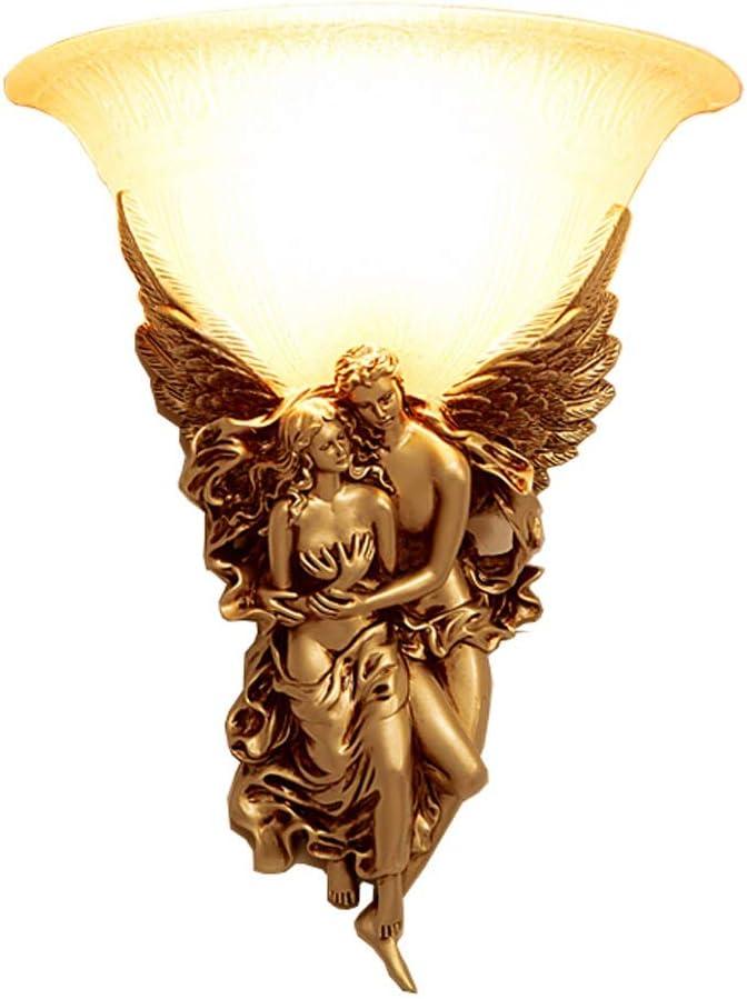 ウォールランプ アンティーク ホームデコレーションオフィス屋外照明リビングルームに適し現代装飾天使の壁取り付け用燭台 ウォールランプ レトロ (色 : Gold, Size : 37x30x15cm)