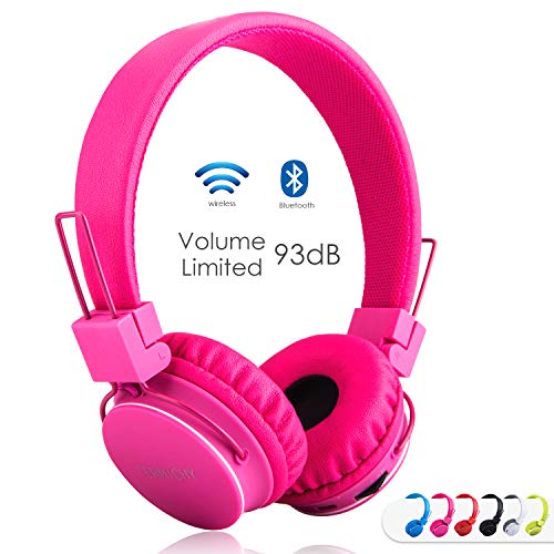 (Kids Bluetooth Headphones Foldable Volume Limiting Wireless/Wired Stereo On Ear HD Headset with SD Card FM Radio in-line Volume Control Microphone for Children Adults (Pink))