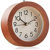 Redondo Reloj Despertador Analógico de Madera Luz Nocturna