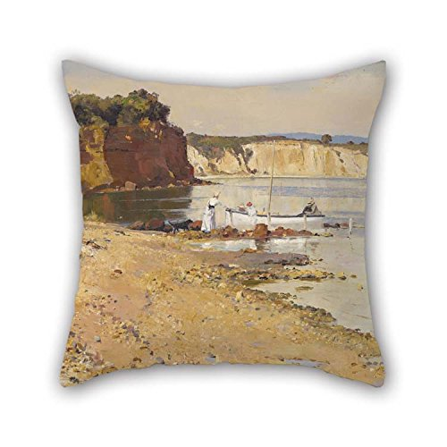 Oil Painting Tom Roberts - Slumbering Sea, Mentone Throw Pillow Case Best for Boys Home Office Boy Friend Pub Christmas Bar 20 X 20 Inches / 50 by 50 cm(2 Sides)