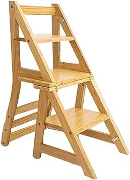 Casa Escalera de bambú, escalera de madera plegable multifuncional Escalera de la sala de estar del