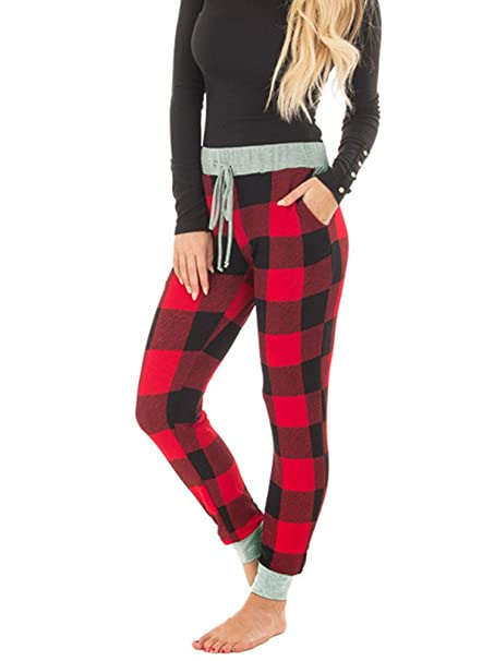 f38bdd217cc7 Womens Fashion Plaid Jogger Pants Lounge Sleep Sweatpants Stretch Cotton  Pant Black and Red