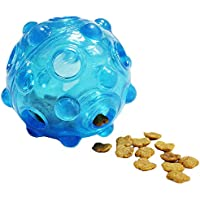 Ondoing Interactive Dog Puppy Ball Toy Dog Treat Ball Food Dispenser, Tooth Cleaning Chewing Playing IQ Training Ball for Dogs Pets, Non-Toxic Soft Dog Slow Feeder Blue