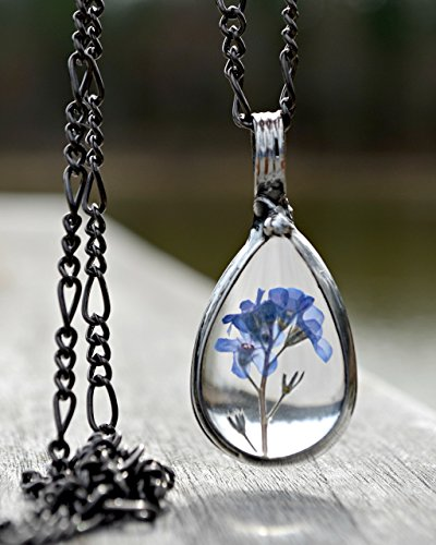 Handmade Forget Me Not Jewelry, Real Pressed Flowers, Forget-Me-Not Necklace in Glass not Resin, Wont Yellow 2783m ()