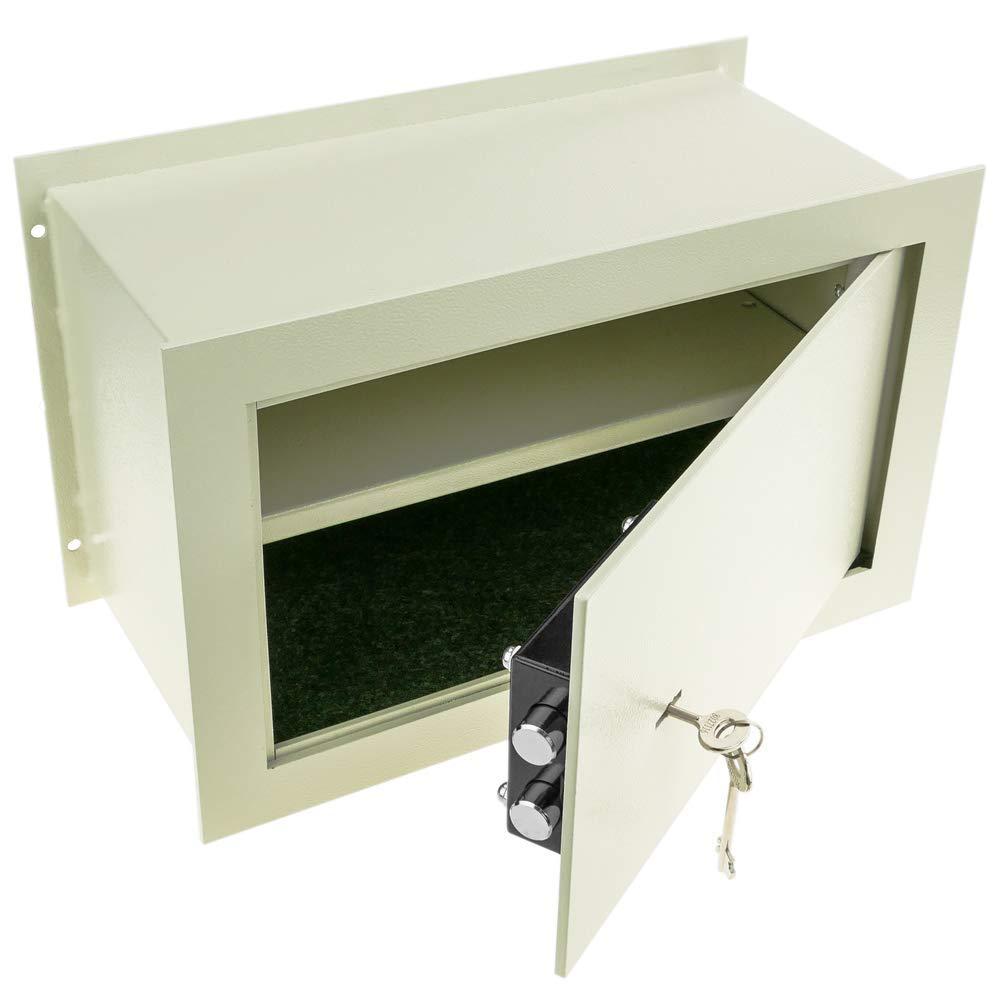 Caja Fuerte de Seguridad empotrada de Acero con Llaves 40x20x25cm Beige PrimeMatik
