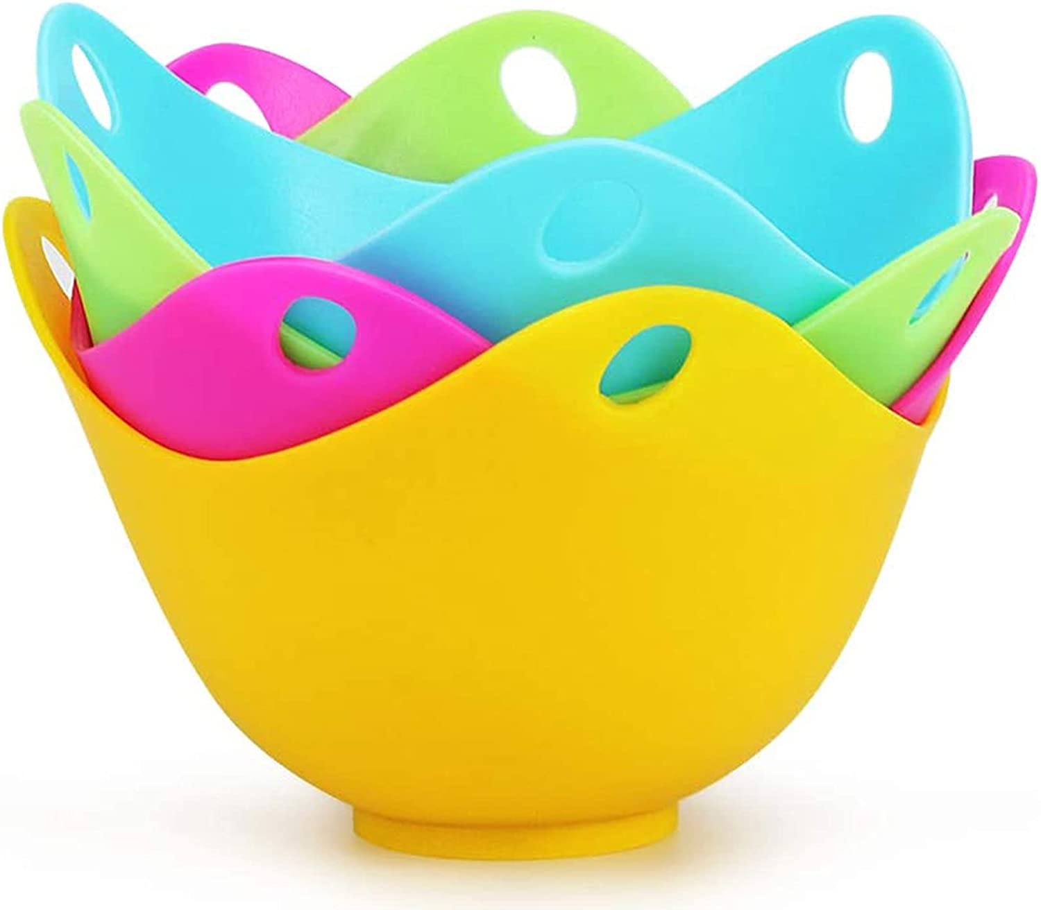 Egg Poacher Poached Egg Cooker Silicone Egg Poaching Cup Egg Cups Egg Bites Molds Egg Cookware for Microwave Stovetop Premium 4PCS