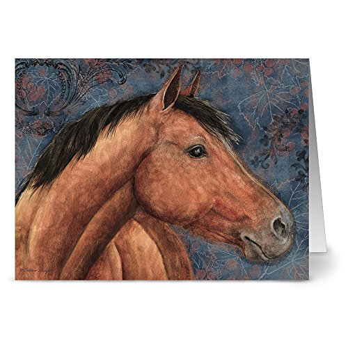 Stationery Horse (Dark Brown Horse - 36 Note Cards - Blank Cards - Kraft Envelopes Included)