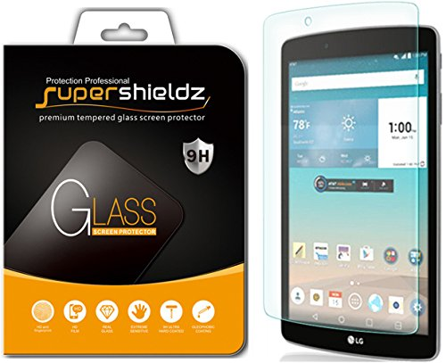 LG G Pad F 8.0 Tempered Glass Screen Protector, Supershieldz Anti-Scratch, Anti-Fingerprint, Bubble Free, Lifetime Replacement Warranty