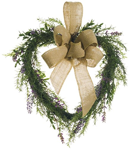 Grapevine Heart Wreath - 16 Inch Lavender and Rosemary Heart Shaped Wreath on Wrapped Vine Base With Jute Bow