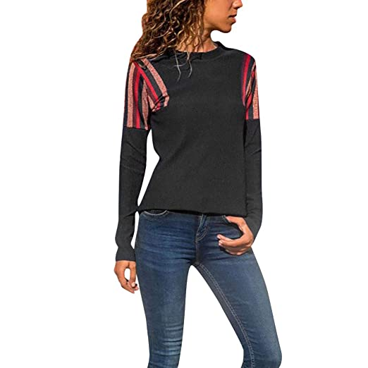 16bd1788c2 Women s Casual Stitching Top Round Neck Long-Sleeved Blouse