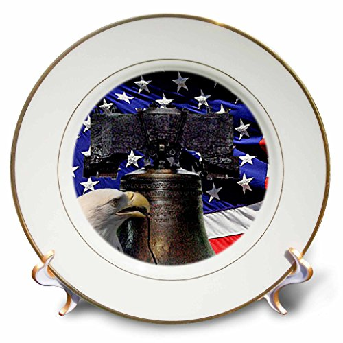 3dRose cp_21651_1 Bald Eagle Liberty Bell and Flag Porcelain Plate, 8-Inch Porcelain Wedding Bell