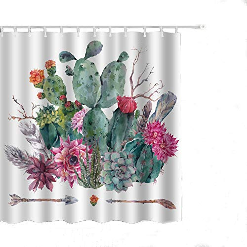 Alicemall Floral Cactus Shower Curtain Green and Pink Floral White Bath Curtain Set, Waterproof Polyester Fabric Bathroom Accessories, 71x71 inch, 12 Hooks Included (71