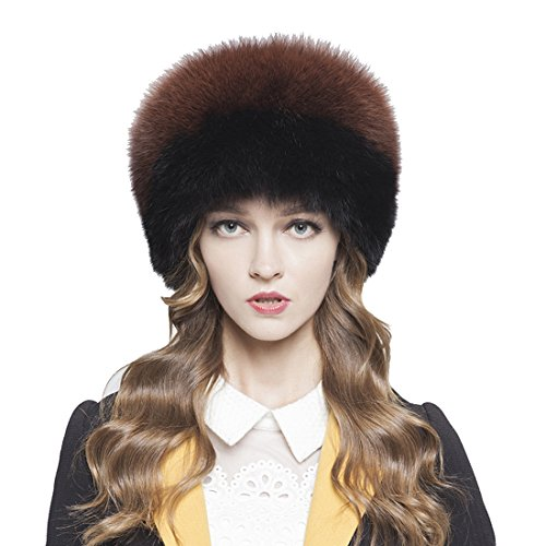 Womne's Fox All Fur Zhivago Pill Box Fur Hat with Fox Tail (One Size, Black & Coffee) by Starway0311