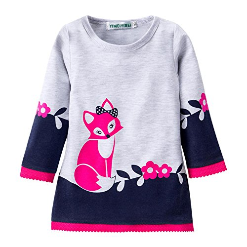 Princess Dress 2018 Spring Autumn Kids Dresses for Girls Fox Long Sleeve Party Dresses Children,Navy (Costume Party Sims 3 Seasons)